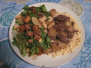 First time beef stew with a balsamic side salad